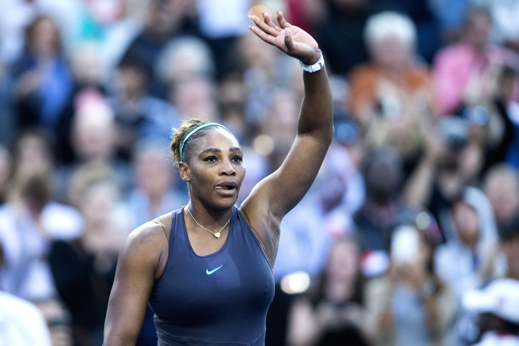 TORONTO, Aug. 11, 2019 - Serena Williams of the United States celebrates after the women's singles semifinal match between Marie Bouzkova of the Czech Republic and Serena Williams of the United ...