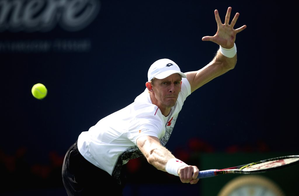 TORONTO, Aug. 12, 2018 - Kevin Anderson of South Africa returns a shot to Stefanos Tsitsipas of Greece during the semifinal match of men's singles at the 2018 Rogers Cup in Toronto, Canada, Aug. 11, ...