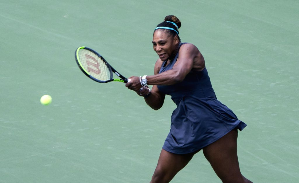 TORONTO, Aug. 12, 2019 - Serena Williams of the United States returns the ball against Bianca Andreescu of Canada during the women's singles final at the 2019 Rogers Cup in Toronto, Canada, Aug. 11, ...