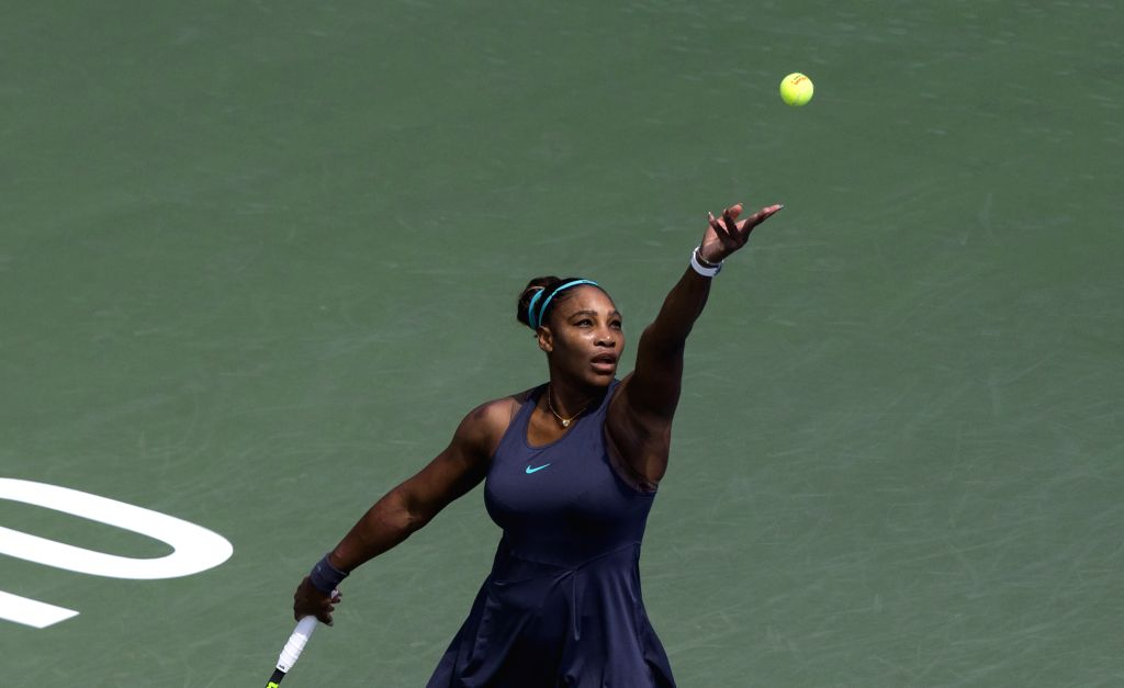 TORONTO, Aug. 12, 2019 - Serena Williams of the United States serves against Bianca Andreescu of Canada during the women's singles final at the 2019 Rogers Cup in Toronto, Canada, Aug. 11, 2019. ...