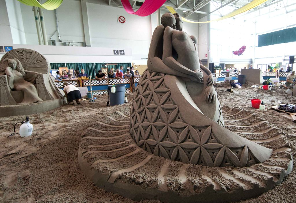 Sand sculptures are seen during the International Sand Sculpting Competition of the 2014 Canadian National Exhibition in Toronto, Canada, Aug. 20, 2014. The winning