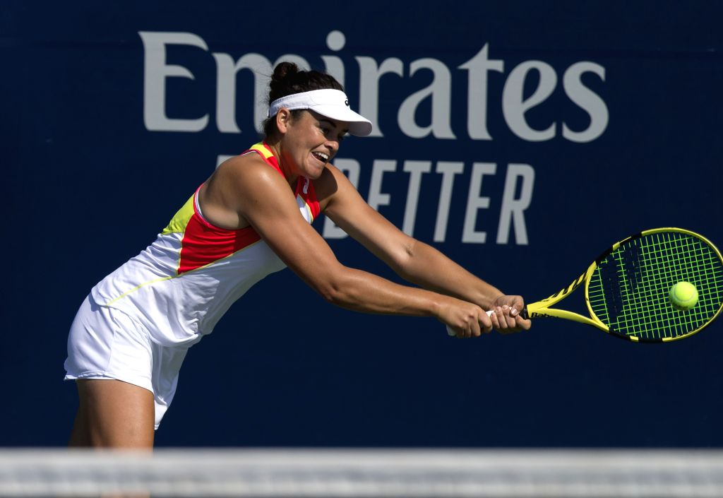 TORONTO, Aug. 4, 2019 - Jennifer Brady of the United States returns the ball during the first round of women's singles qualifying match Peng Shuai of China at the 2019 Rogers Cup in Toronto, Canada, ...