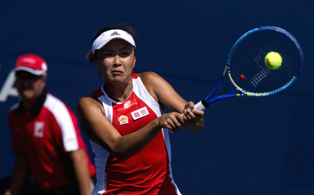 TORONTO, Aug. 4, 2019 - Peng Shuai of China returns the ball during the first round of women's singles qualifying match against Jennifer Brady of the United States at the 2019 Rogers Cup in Toronto, ...