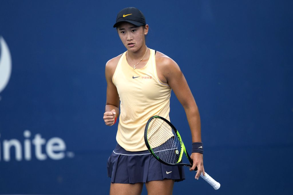 TORONTO, Aug. 4, 2019 - Wang Xiyu of China reacts during the first round of women's singles qualifying match against Ysaline Bonaventure of Belgium at the 2019 Rogers Cup in Toronto, Canada, Aug. 3, ...