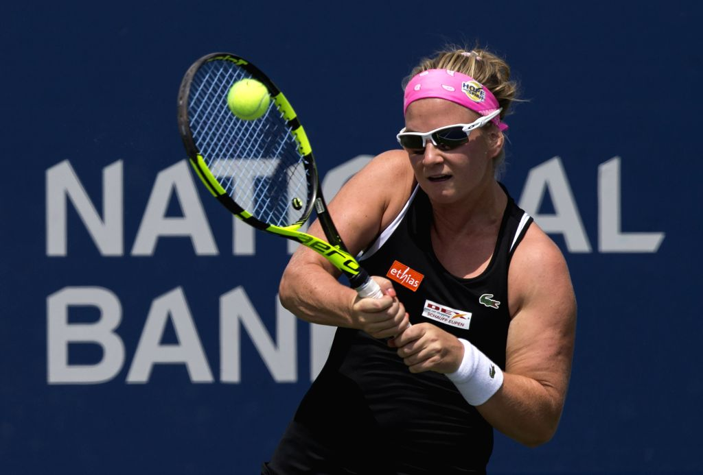 TORONTO, Aug. 4, 2019 - Ysaline Bonaventure of Belgium returns the ball during the first round of women's singles qualifying match against Wang Xiyu of China at the 2019 Rogers Cup in Toronto, ...