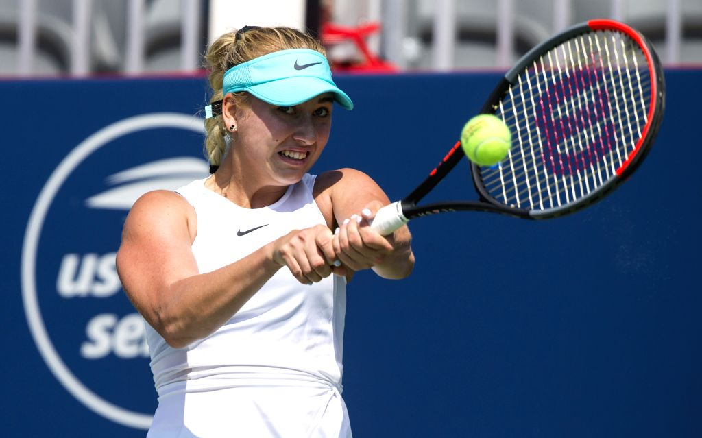 TORONTO, Aug. 5, 2019 - Anastasia Potapova of Russia returns the ball during the second round of women's singles qualifying match against Zhang Shuai of China at the 2019 Rogers Cup in Toronto, ...
