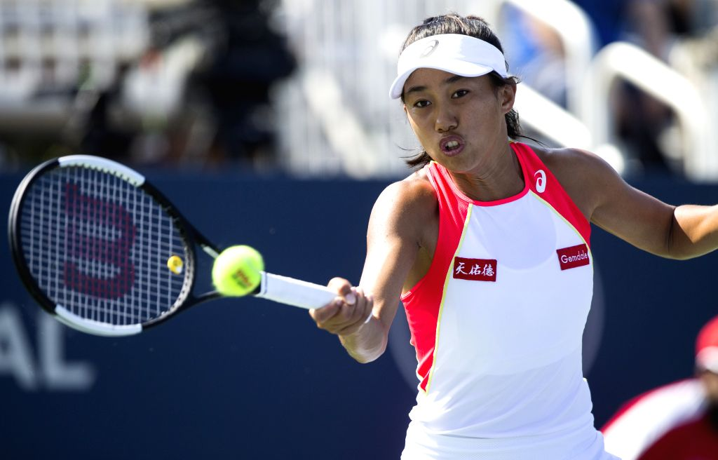 TORONTO, Aug. 5, 2019 - Zhang Shuai of China returns the ball during the second round of women's singles qualifying match against Anastasia Potapova of Russia of the United States at the 2019 Rogers ...