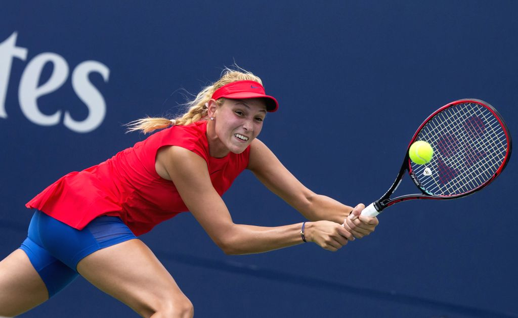 TORONTO, Aug. 7, 2017 - Donna Vekic of Croatia returns the ball to Patricia Maria Tig of Romania during the second round of women's singles qualifying match at the 2017 Rogers Cup in Toronto, Canada, ...