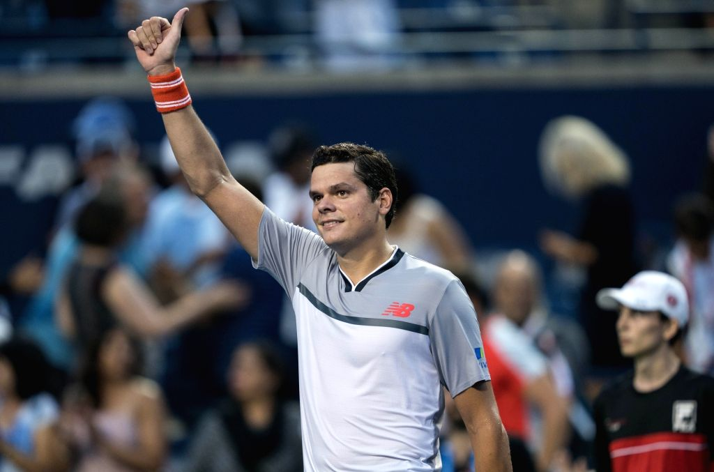 TORONTO, Aug. 7, 2018 - Milos Raonic of Canada celebrates victory after the first round of men's singles match against David Goffin of Belgium at the 2018 Rogers Cup in Toronto, Canada, Aug. 6, 2018. ...