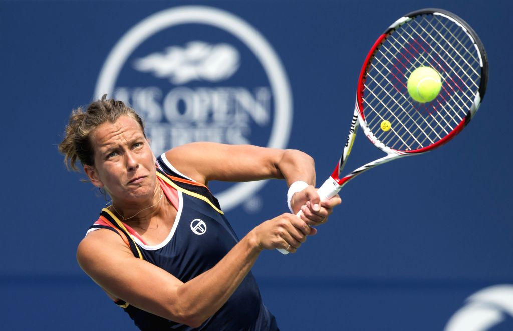 TORONTO, Aug. 8, 2017 - Barbora Strycova of the Czech Republic returns the ball to Kristina Mladenovic of France during their first round of women's singles match at the 2017 Rogers Cup in Toronto, ...