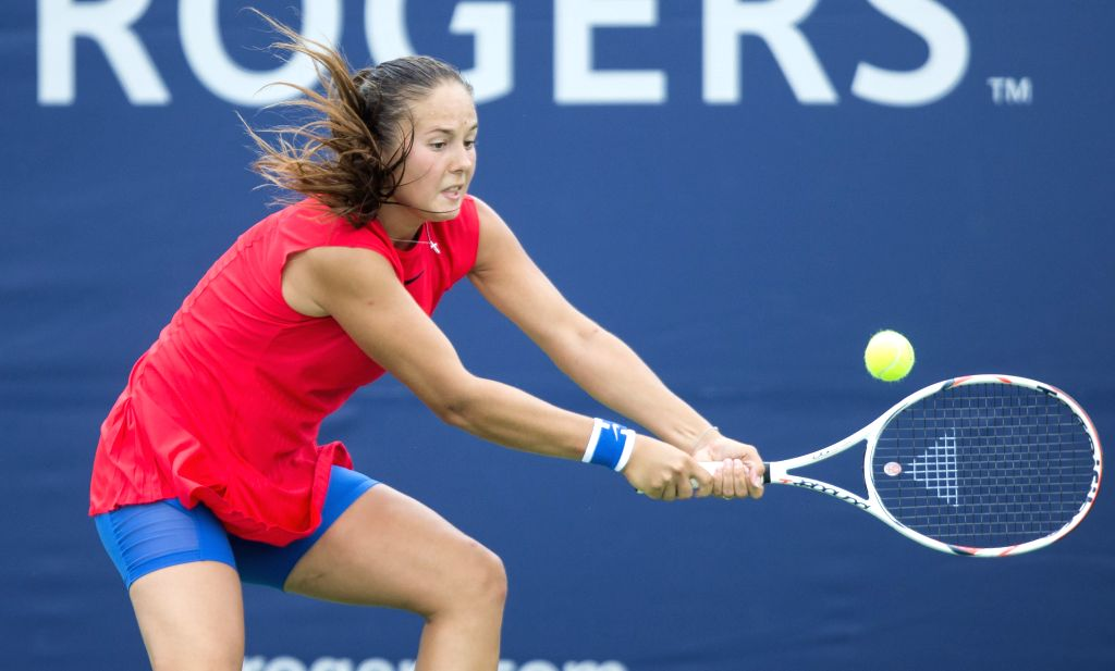 TORONTO, Aug. 8, 2017 - Daria Kasatkina of Russia returns the ball to Roberta Vinci of Italy during their first round of women's singles match at the 2017 Rogers Cup in Toronto, Canada, August 7, ...