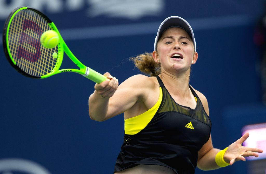 TORONTO, Aug. 8, 2017 - Jelena Ostapenko of Latvia hits a return during the women's singles first round match against Varvara Lepchenko of the United States at the 2017 Rogers Cup in Toronto, Canada, ...