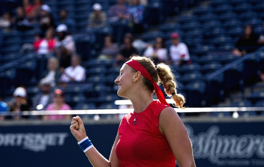 TORONTO, Aug. 8, 2017 - Kvitova of the Czech Republic celebrates victory after the first round of women's singles match against Carla Suarez Navarro of Spain at the 2017 Rogers Cup in Toronto, ...