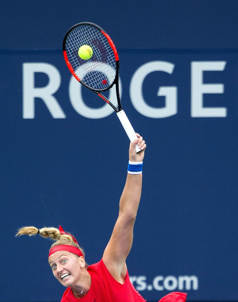 TORONTO, Aug. 8, 2017 - Kvitova of the Czech Republic serves to Carla Suarez Navarro of Spain during their first round of women's singles match at the 2017 Rogers Cup in Toronto, Canada, August 7, ...