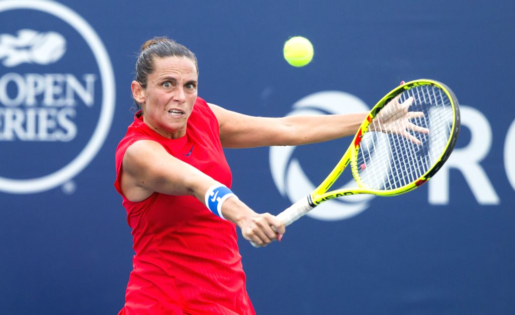 TORONTO, Aug. 8, 2017 - Roberta Vinci of Italy returns the ball to Daria Kasatkina of Russia during their first round of women's singles match at the 2017 Rogers Cup in Toronto, Canada, August 7, ...