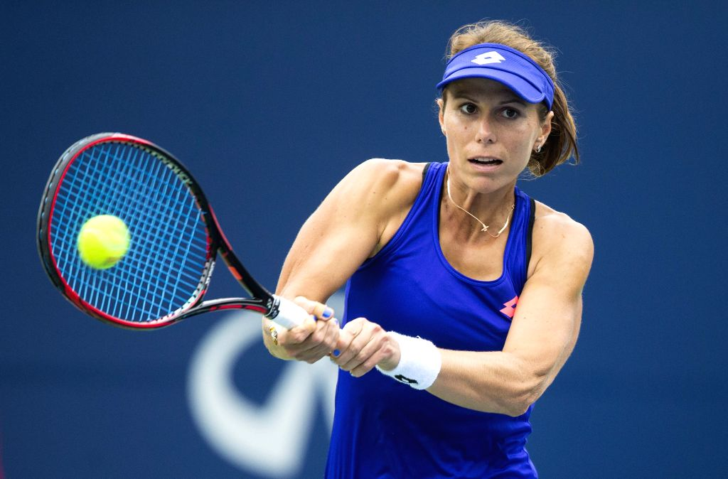 TORONTO, Aug. 8, 2017 - Varvara Lepchenko of the United States hits a return during the women's singles first round match against Jelena Ostapenko of Latvia at the 2017 Rogers Cup in Toronto, Canada, ...