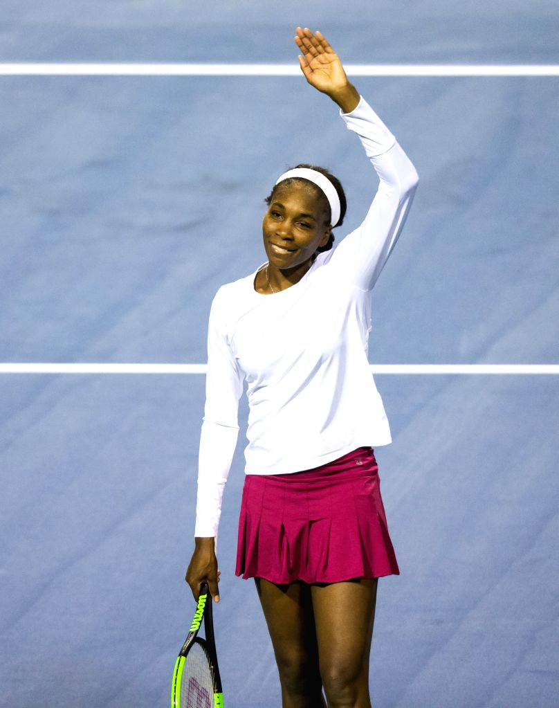 TORONTO, Aug. 8, 2017 - Venus Williams of the United States celebrates after the first round of women's singles match against Irina-Camelia Begu of Romania at the 2017 Rogers Cup in Toronto, Canada, ...
