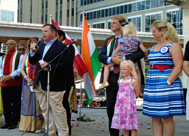 Toronto (Canada): Canadian Defence Minister Jason Kenney addresses during Indian Independence Day celebrations in Toronto, Canada on Aug 15, 2015. - Jason Kenney