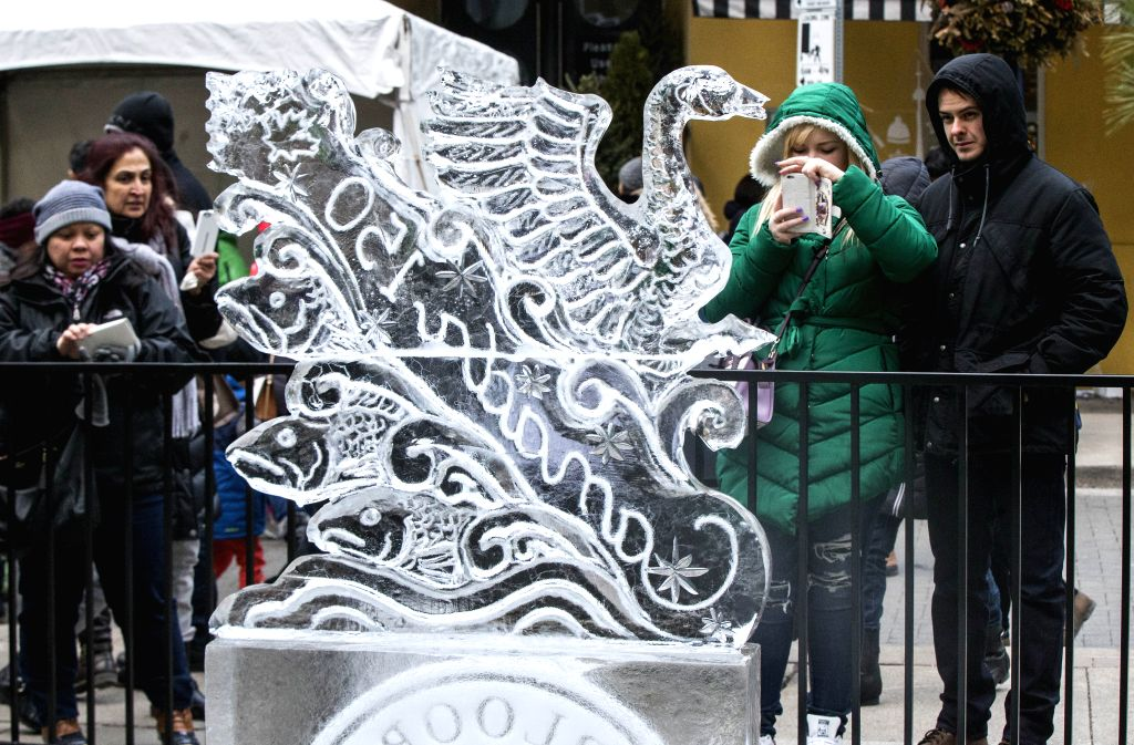 TORONTO, Feb. 26, 2017 - People visit the 12th Bloor-Yorkville Icefest in Toronto, Canada, Feb. 25, 2017.