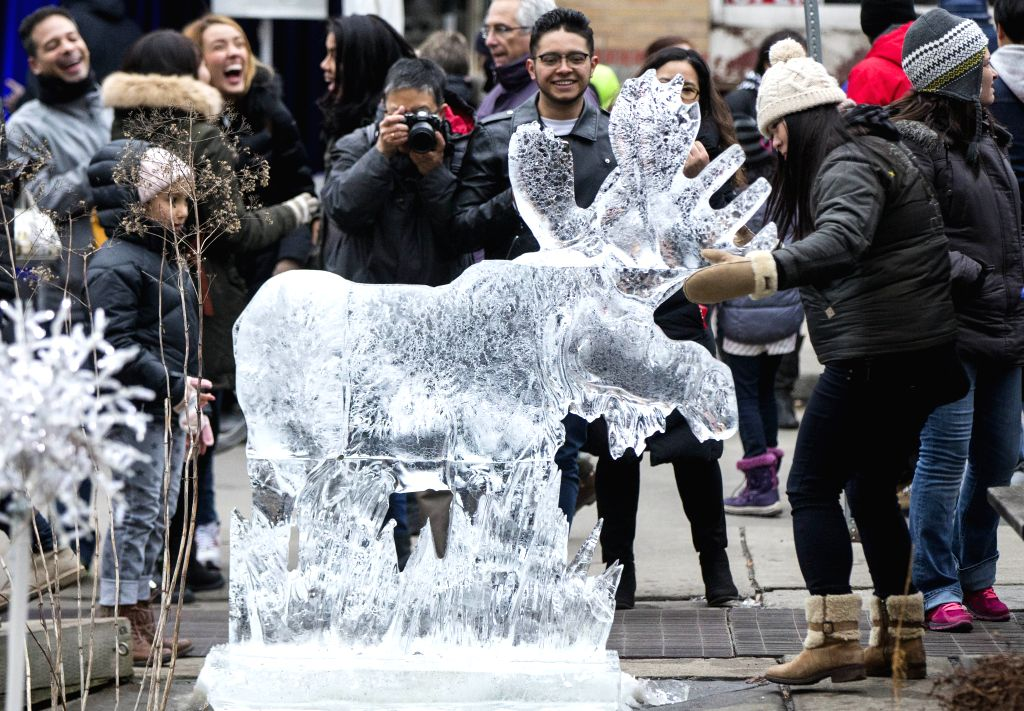 "TORONTO, Feb. 26, 2017 - People visit the ice sculpture work ""Canadian Moose"" at the 12th Bloor-Yorkville Icefest in Toronto, Canada, Feb. 25, 2017."