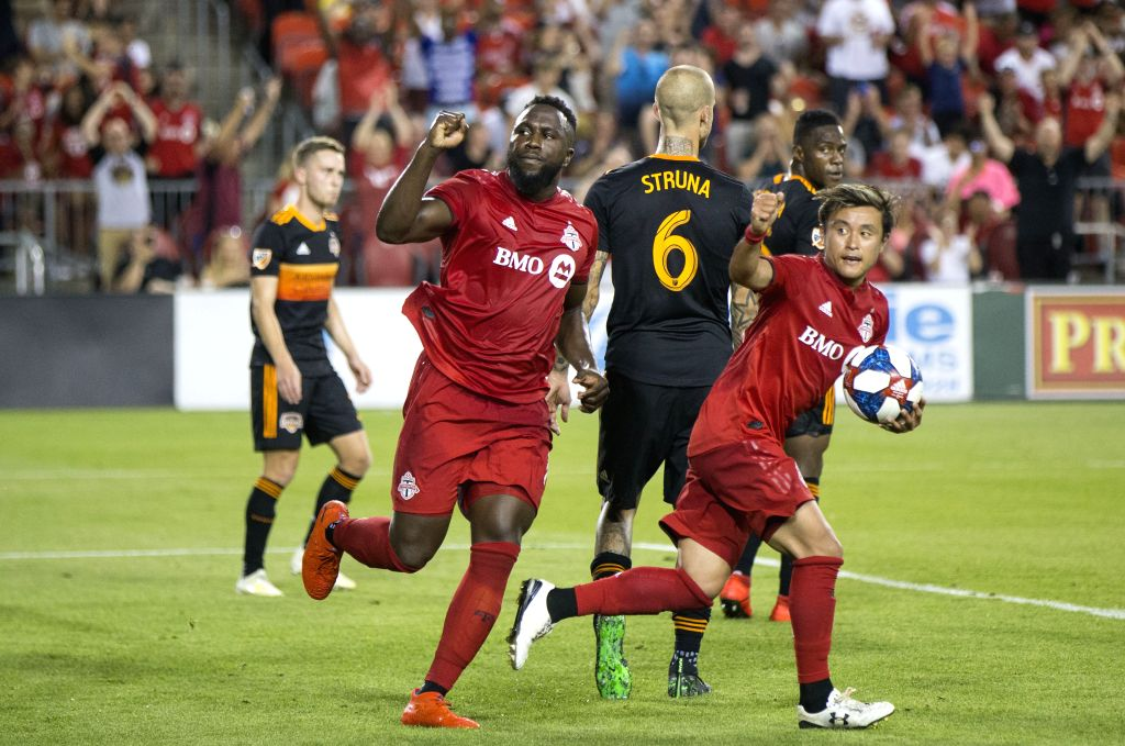TORONTO, July 21, 2019 - Jozy Altidore(2nd L) of Toronto FC celebrates scoring during the 2019 Major League Soccer(MLS) match against Houston Dynamo at BMO Field in Toronto, Canada, July 20, 2019. ...