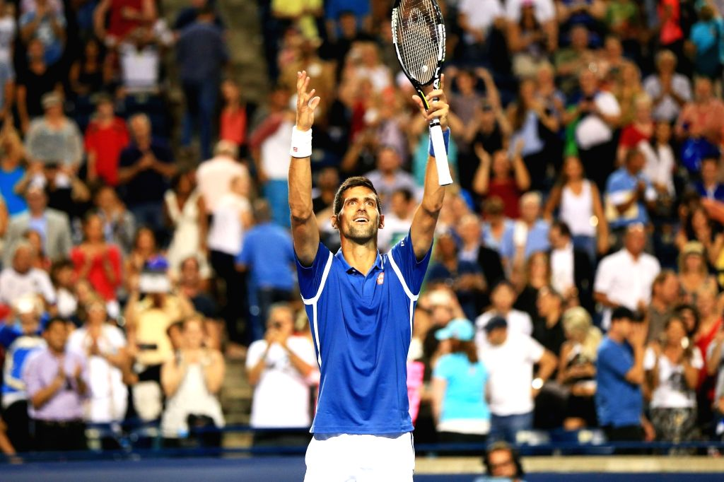 TORONTO, July 29, 2016 - Novak Djokovic of Serbia celebrates after the third round of men's singles match against Radek Stepanek of the Czech Republic at the 2016 Rogers Cup in Toronto, Canada, July ...