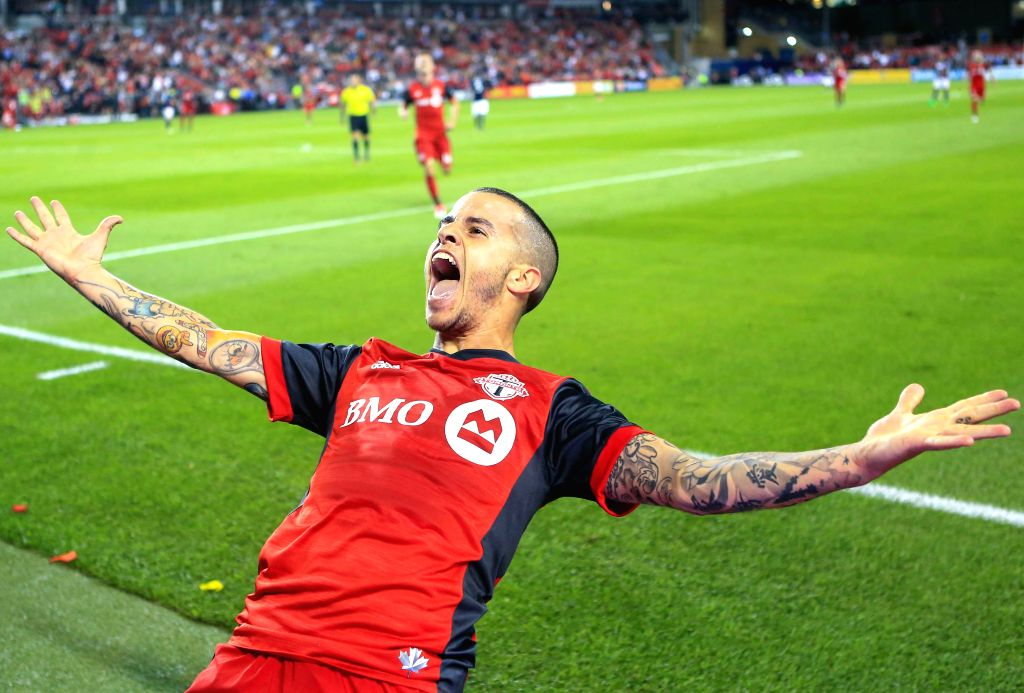 TORONTO, Jun. 24, 2017 - Sebastian Giovinco of Toronto FC celebrates scoring during the 2017 Major League Soccer (MLS) match between Toronto FC and New England Revolution at BMO Field in Toronto, ...