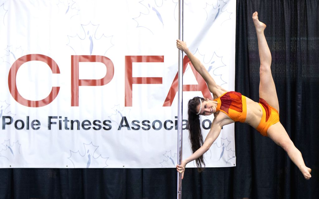 TORONTO, June 3, 2018 - A contestant competes during the Pole Fitness Competition presented by Canadian Pole Fitness Association at the 2018 Toronto Pro SuperShow in Toronto, June 2, 2018.