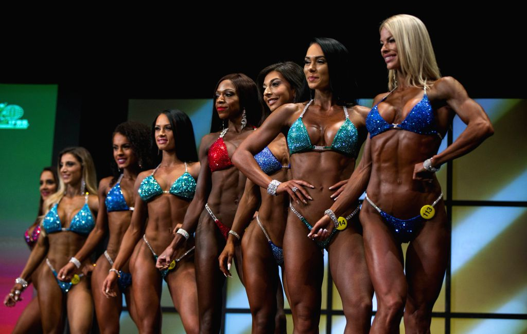 TORONTO, June 3, 2018 - Contestants compete during the women's bikini competition of the 2018 Toronto Pro Supershow IFBB Championships at Toronto Metro Convention Centre in Toronto, June 2, 2018.