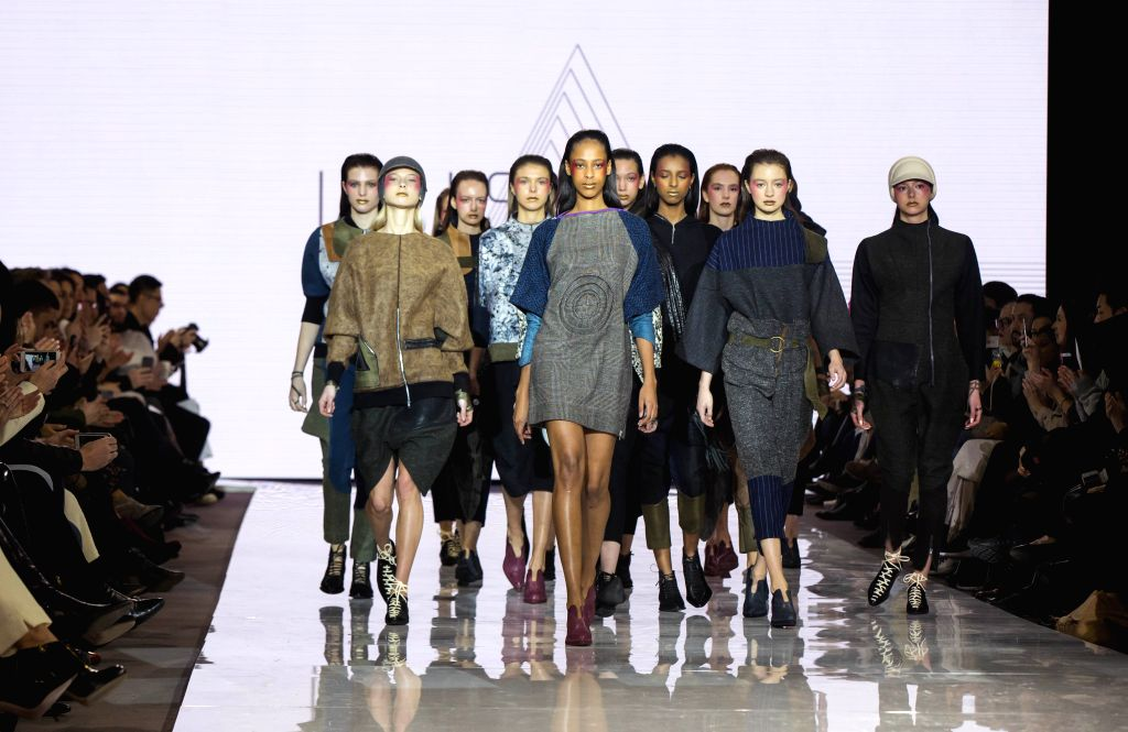 TORONTO, March 11, 2017 - Models present collections by Luis Padilla during the debut season of the Toronto Women's Fashion Week in Toronto, Canada, March 10, 2017. The three-day event will showcase ...