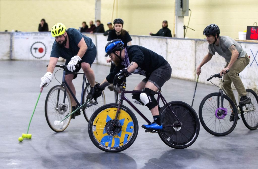 TORONTO, March 4, 2019 - Participants compete during the Great Lakes Winter Classic Bike Polo Tournament in Toronto, Canada, March 3, 2019. Bike Polo is a team sport combining the bicycle rider's ...