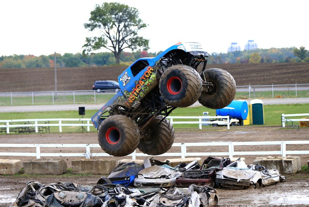 TORONTO, Oct. 3, 2016 - A monster truck performs during the Monster Truck Show at the Markham Fair Event in Markham, Ontario, Canada, Oct. 2, 2016.