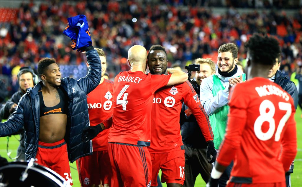 TORONTO, Oct. 31, 2016 - Jozy Altidore (C) of Toronto FC celebrates victory with teammates after the Eastern Conference Semifinals Leg-1 match of the 2016 Major League Soccer (MLS) against New York ...