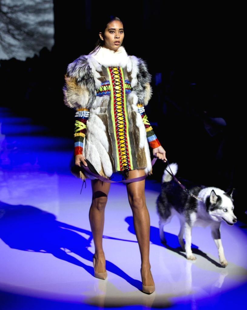TORONTO, Oct. 5, 2017 - A model presents a creation during the Canada 150 Fashion Show at the Spring/Summer 2018 Toronto Women's Fashion Week in Toronto, Canada, Oct. 4, 2017. This show celebrated ...
