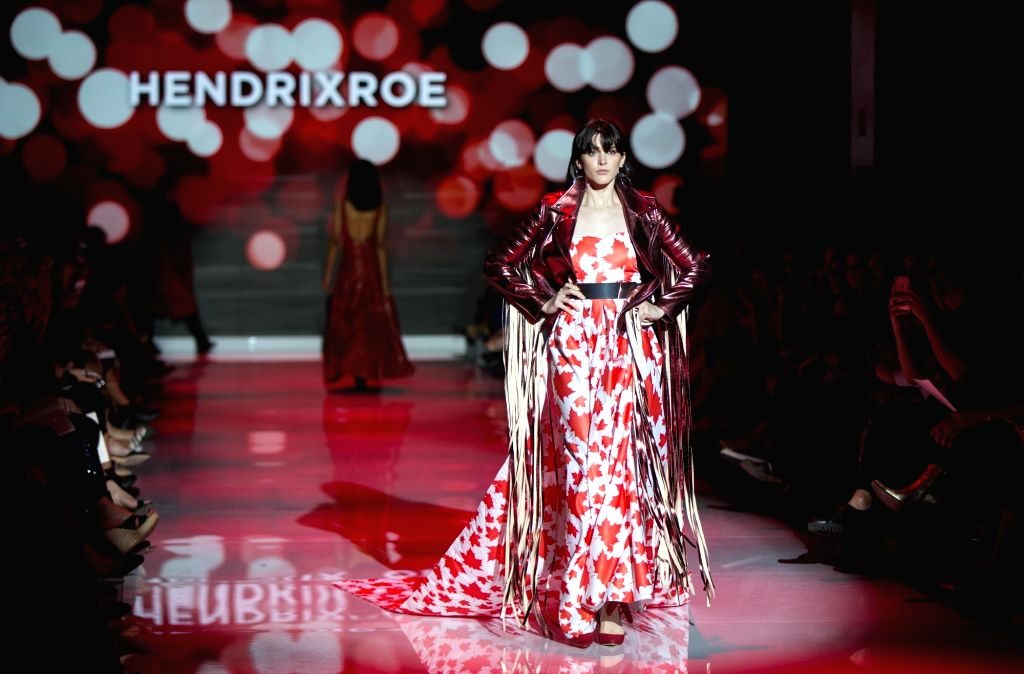 TORONTO, Oct. 5, 2017 - A model presents a creation of Hendrixroe during the Canada 150 Fashion Show at the Spring/Summer 2018 Toronto Women's Fashion Week in Toronto, Canada, Oct. 4, 2017. This show ...