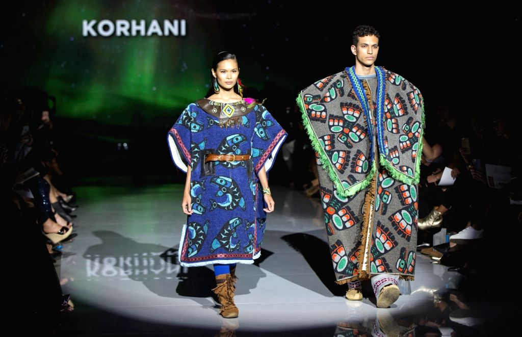 TORONTO, Oct. 5, 2017 - Models present creations of Korhani during the Canada 150 Fashion Show at the Spring/Summer 2018 Toronto Women's Fashion Week in Toronto, Canada, Oct. 4, 2017. This show ...