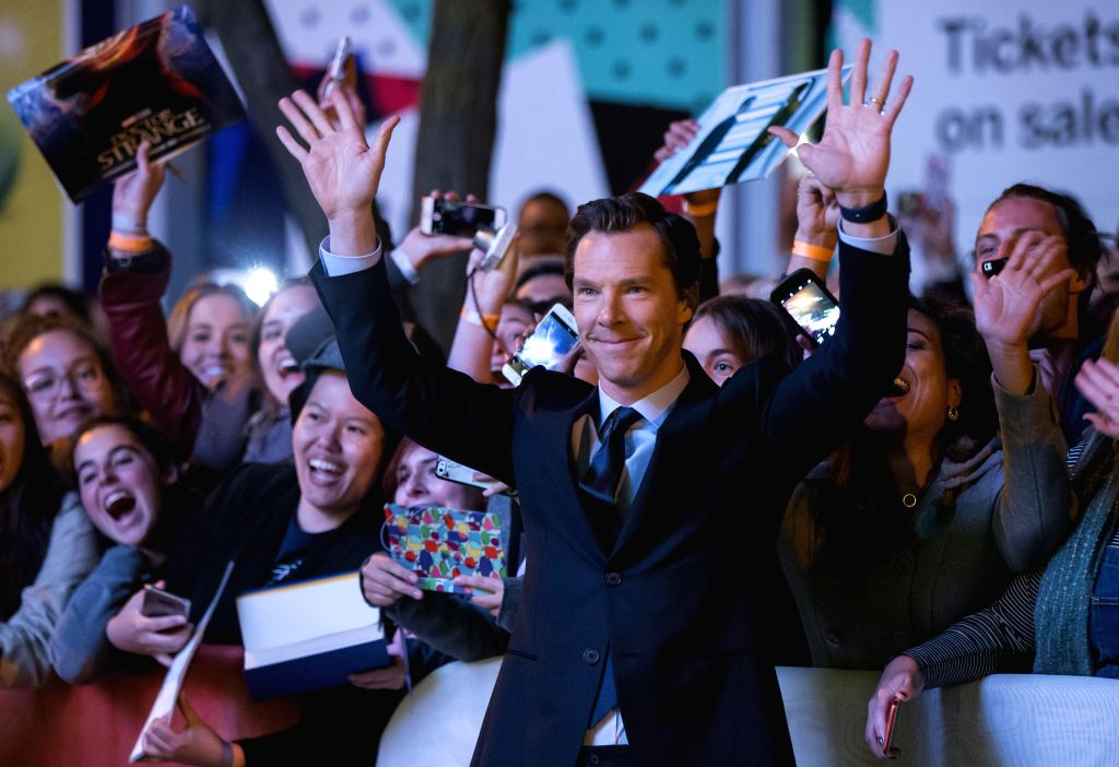 """TORONTO, Sept. 10, 2017 - Actor Benedict Cumberbatch (front) poses for photos with fans as he attends the world premiere of the film """"The Current War"""" at Princess of Wales Theatre during ... - Benedict Cumberbatch"""