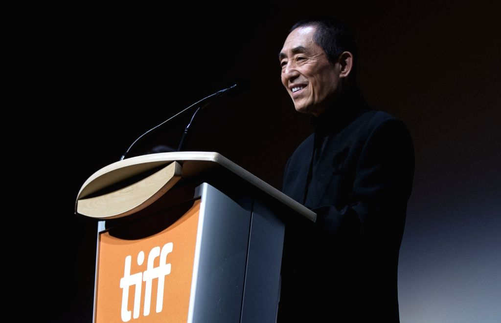 """TORONTO, Sept. 11, 2018 - Director Zhang Yimou talks to spectators before the North American premiere of the film """"Shadow"""" at Roy Thomson Hall during the 2018 Toronto International Film ..."""
