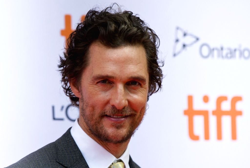"TORONTO, Sept. 12, 2016 (Xinhua) -- Actor Matthew McConaughey attends the world premiere of the film ""Sing"" at Princess of Wales Theatre during the 41st Toronto International Film Festival in Toronto, Canada, Sept. 11, 2016. (Xinhua/Zou Zheng/IANS) - Matthew M"