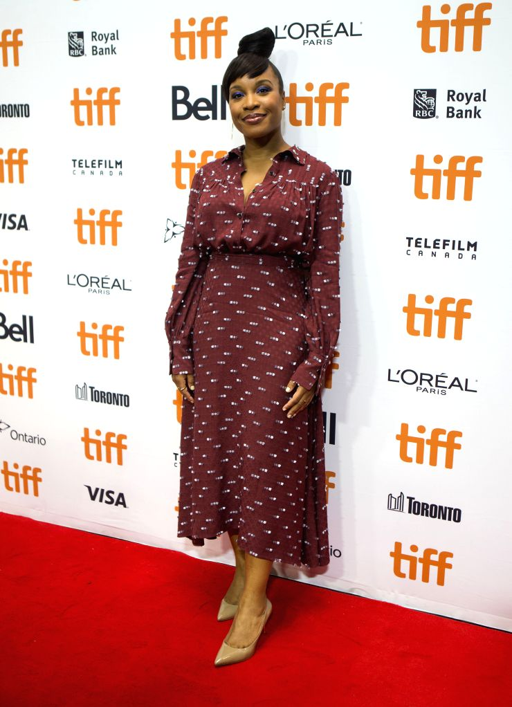 "TORONTO, Sept. 14, 2019 - Director Chinonye Chukwu poses for photos before the international premiere of the film ""Clemency"" at Roy Thomson Hall during the 2019 Toronto International Film ..."