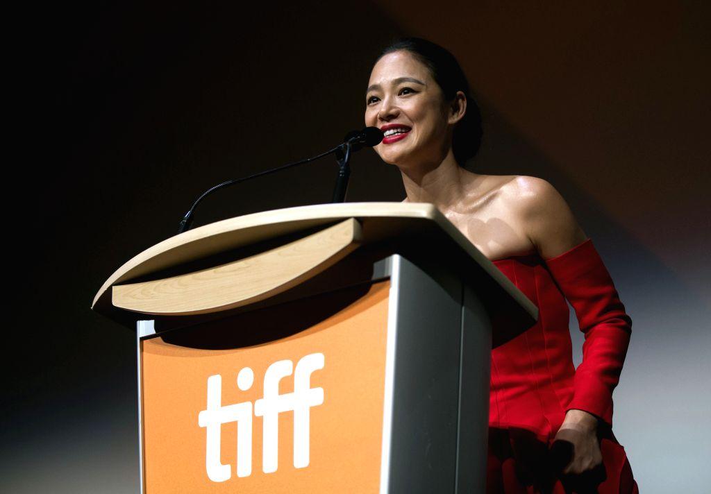 "TORONTO, Sept. 15, 2018 - Actress Zhou Yun speaks to spectators before the film ""Hidden Man"" at Roy Thomson Hall during the 2018 Toronto International Film Festival in Toronto, Canada, ... - Zhou Yun"
