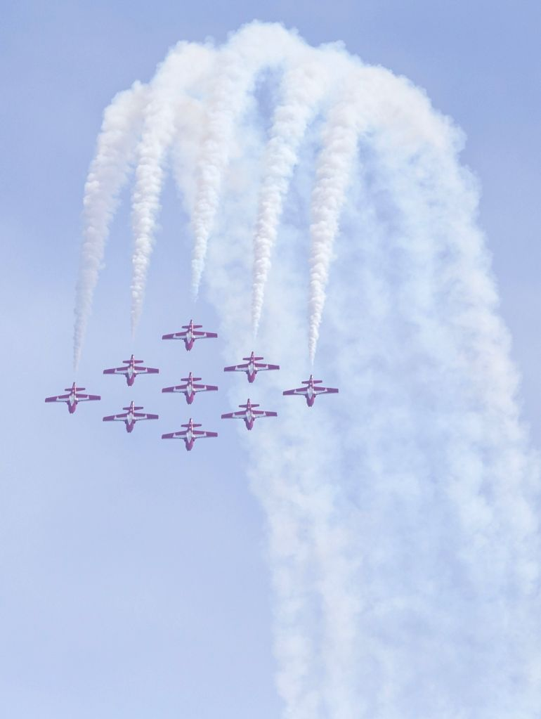 TORONTO, Sept. 2, 2018 - The Canadian Forces Snowbirds perform during the 2018 Canadian International Air Show in Toronto, Canada, Sept. 1, 2018. The annual three-day event kicked off on Saturday to ...