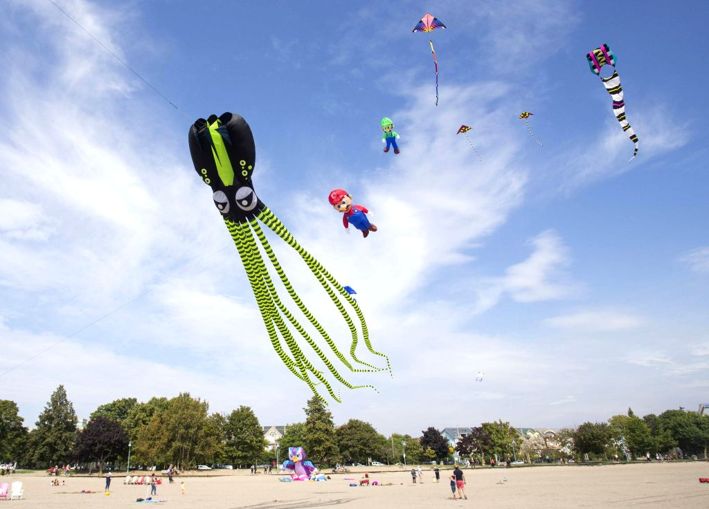 TORONTO, Sept. 22, 2019 - People watch flying kites during the 2019 Toronto WindFest Fun Fly at Woodbine Beach in Toronto, Canada, on Sept. 22, 2019. Hundreds of kite fliers showed the public some ...
