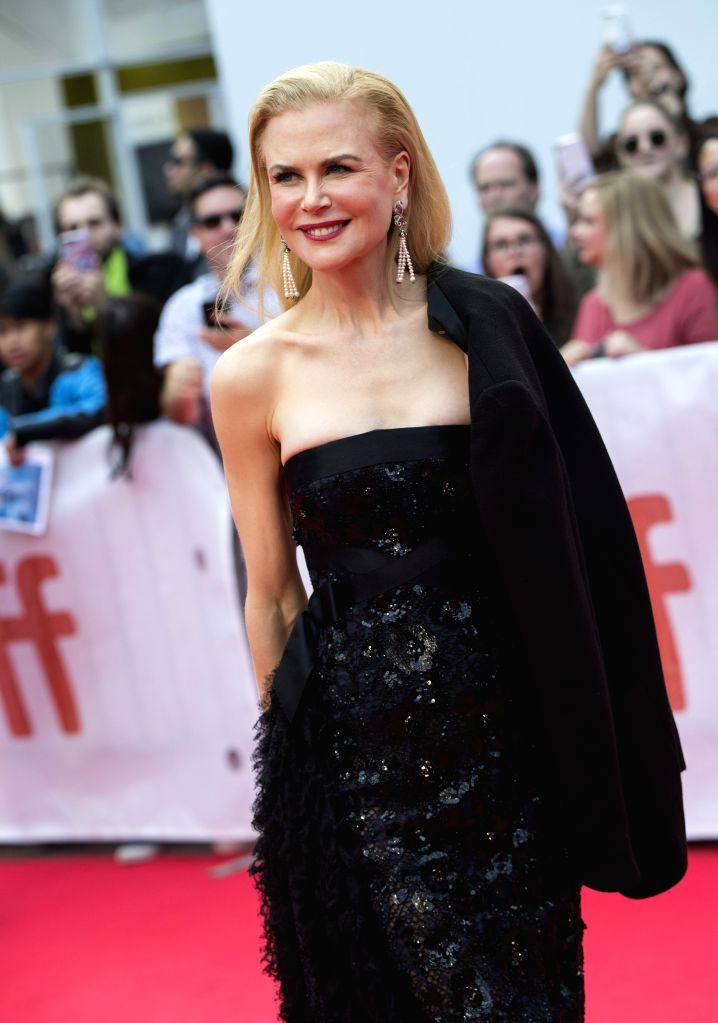 "TORONTO, Sept. 9, 2019 (Xinhua) -- Actress Nicole Kidman poses for photos before the world premiere of the film ""The Goldfinch"" at Roy Thomson Hall during the 2019 Toronto International Film Festival (TIFF) in Toronto, Canada, Sept. 8, 2019. (Photo b - Nicole Kidman"