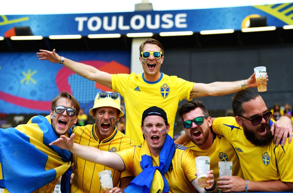 TOULOUSE, June 17, 2016 - Fans of Sweden pose for photos before the UEFA Euro 2016 group E match between Italy and Sweden at the Stadium Municipal in Toulouse, France, June 17, 2016.