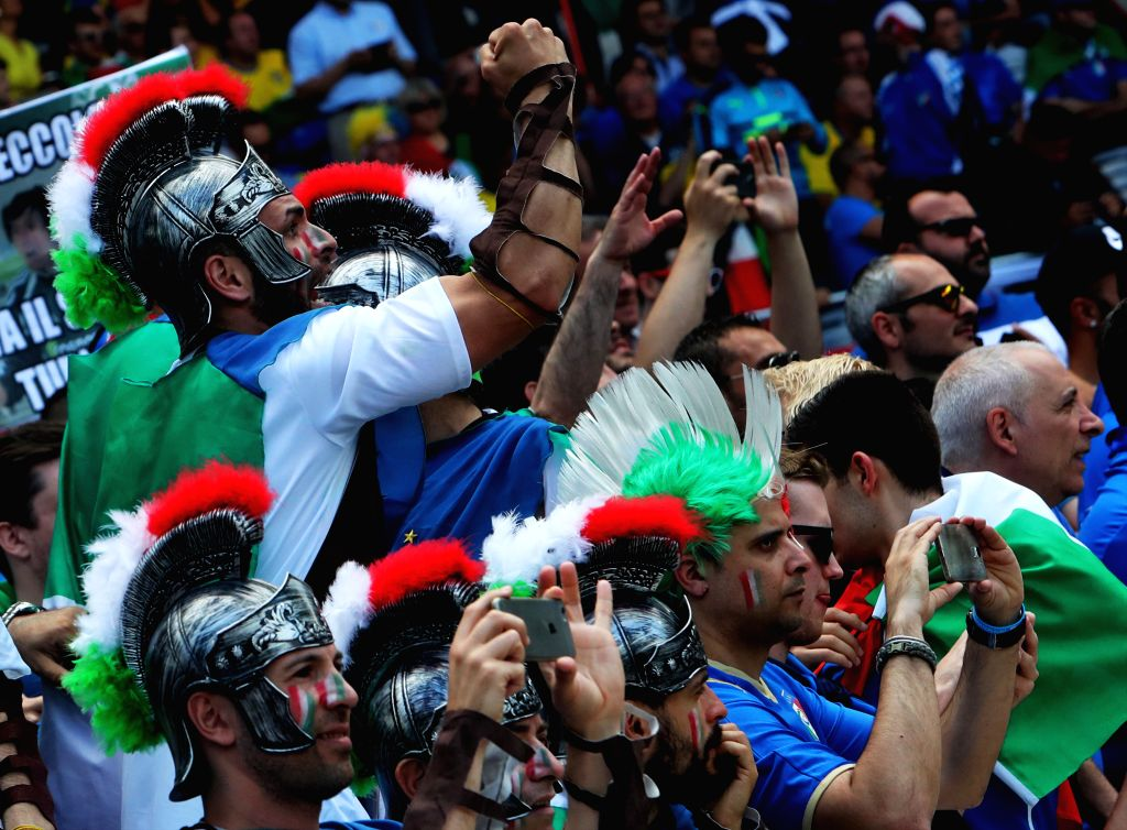 TOULOUSE, June 17, 2016 - Italian fans take photos with cellphones prior to an Euro 2016 Group E soccer match between Italy and Sweden in Toulouse, France, June 17, 2016.