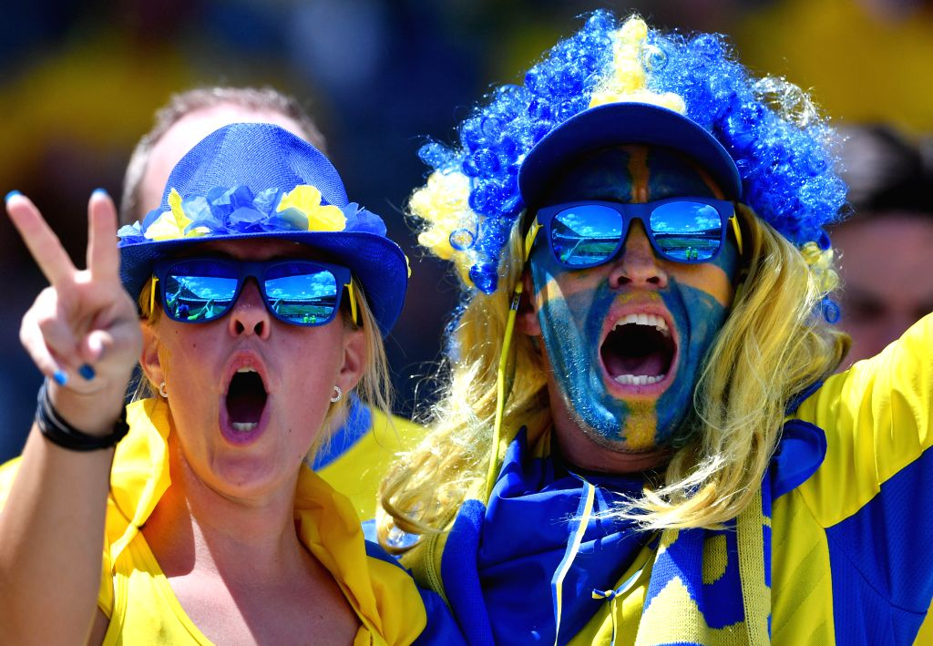 TOULOUSE, June 17, 2016 - Two fans of Sweden cheer for the team before the UEFA Euro 2016 group E match between Italy and Sweden at the Stadium Municipal in Toulouse, France, June 17, 2016.