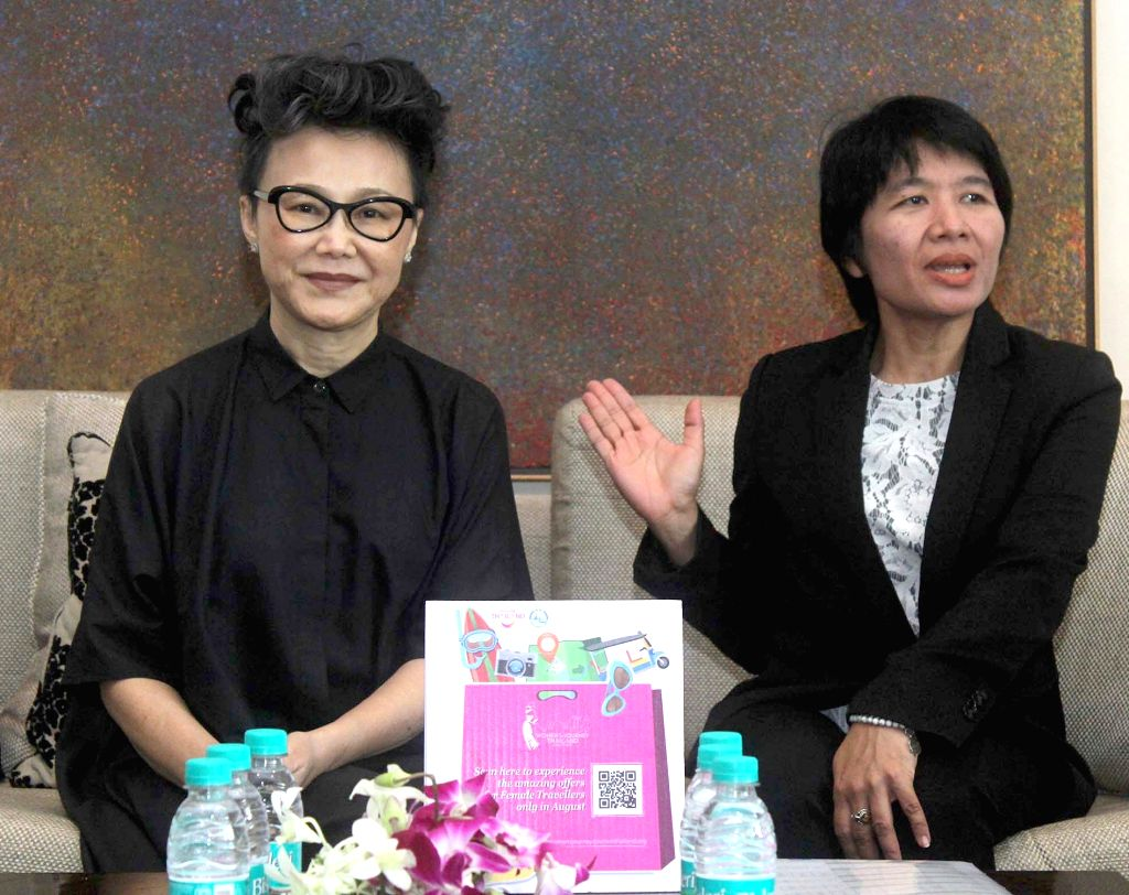 Tourism Authority of Thiland (TAT) Asia Pacific Deputy Governor Srisuda Wanapinyosak along with TAT Director Soraya Homchuen during a press conference at a hotel in Bengaluru on Aug 8, ...