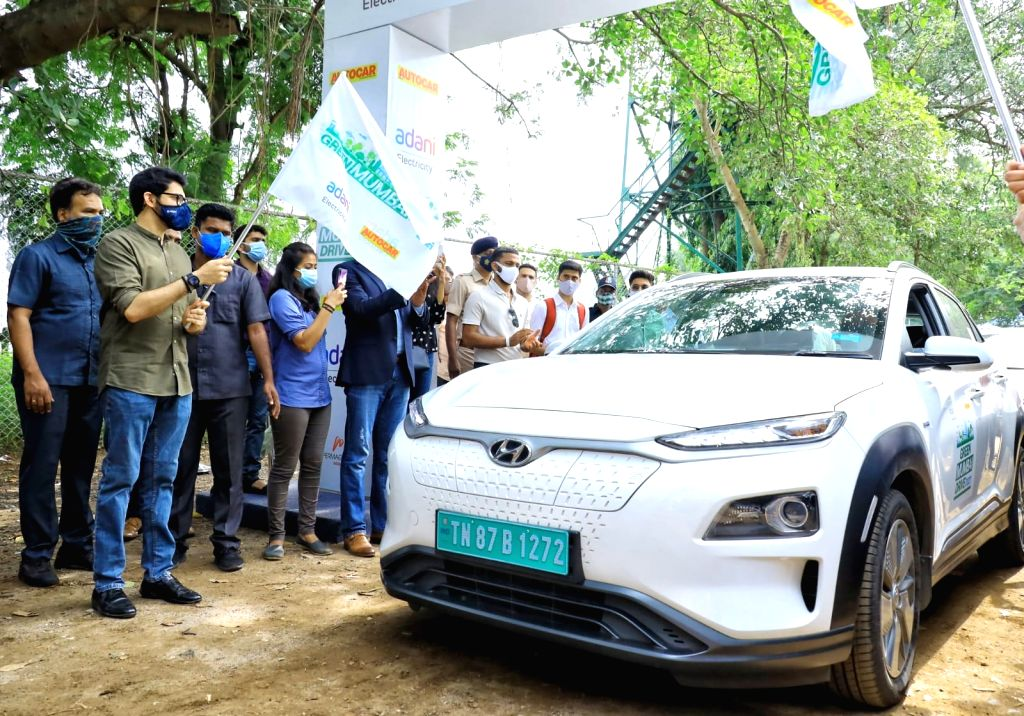 Tourism Minister Aditya Thackeray flagged off a unique all- electric vehicles Car Rally, with participation of around 30 EVs of Indian and foreign companies. - Aditya Thackeray