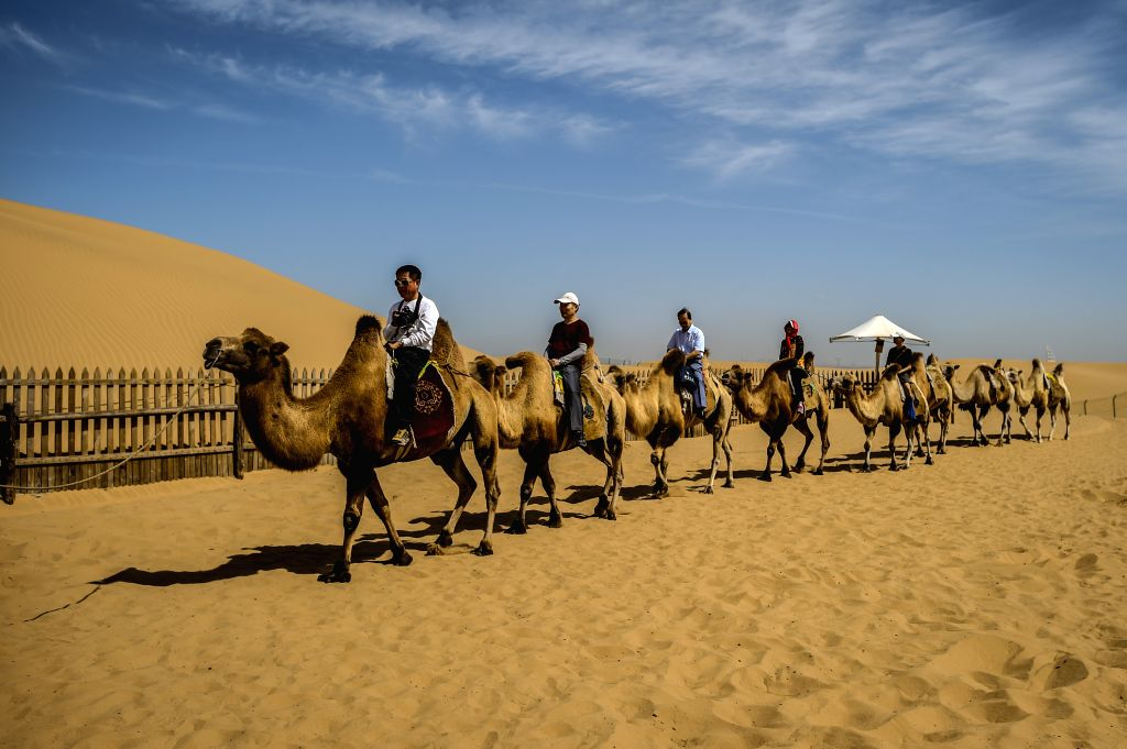 Tourists have fun in the Xiangshawan Desert in Ordos, north China's Inner Mogolia Autonomous Region, Aug. 18, 2015.